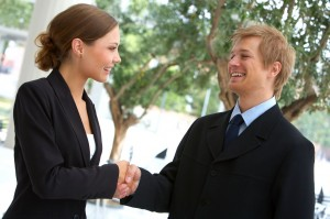 Man and Woman Shaking Hands for Blog