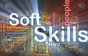 Soft skills background concept glowing